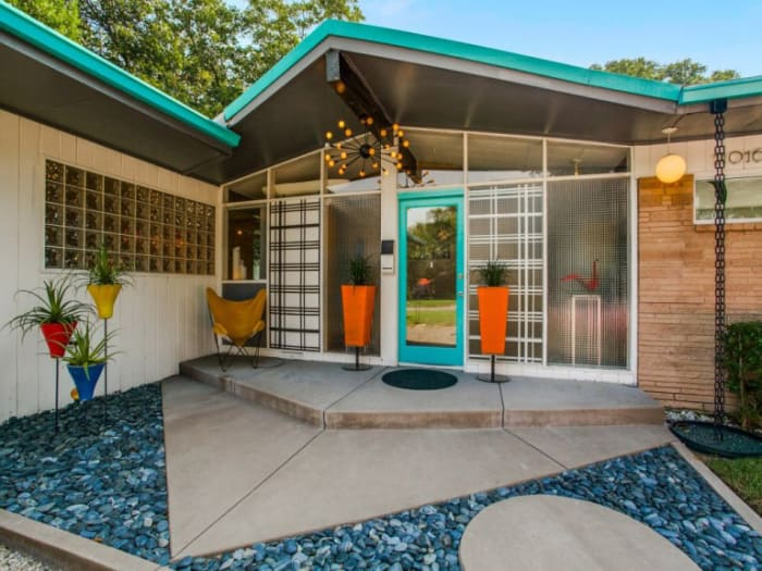 Mid-Century Modern home entrance