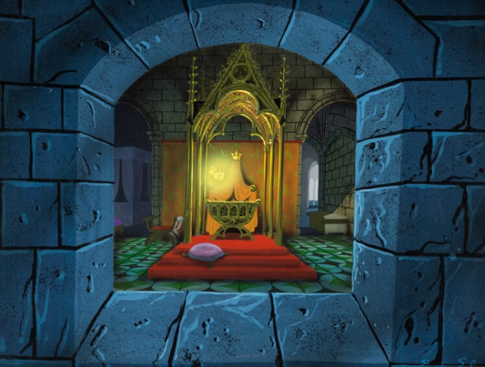 """One of Eyvind Earle's """"Sleeping Beauty"""" artworks offered is Princess Aurora's Cradle with 3 Good Fairies concept painting (Walt Disney, 1959), with an estimate of $25,000+."""