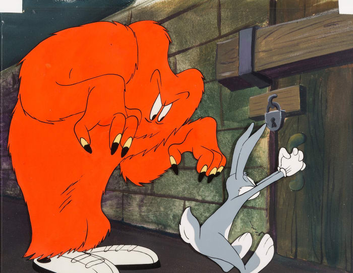 Chuck Jones' Hair-Raising Hare Gossamer Production cel, Warner Brothers, 1946, carries an estimate of $10,000+.