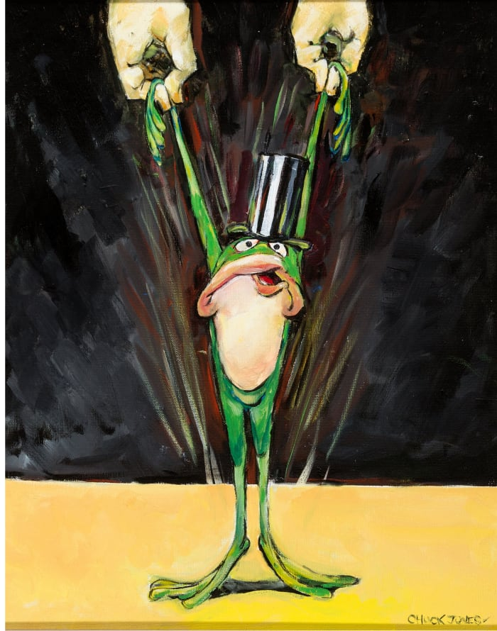 Chuck Jones' Michigan J. Frog oil painting, 1996, has a pre-auction estimate of $50,000+.