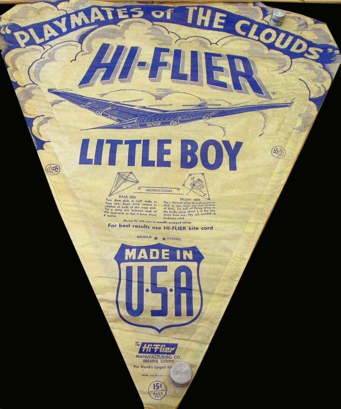 """The Hi-Flier Little Boy prominently displays the """"Playmates of The Clouds"""" art design."""