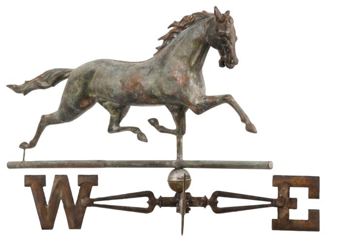 "American copper and zinc horse weathervane, 19th century,  28"" x 36"" x 42""; est: $1,500-$2,500."