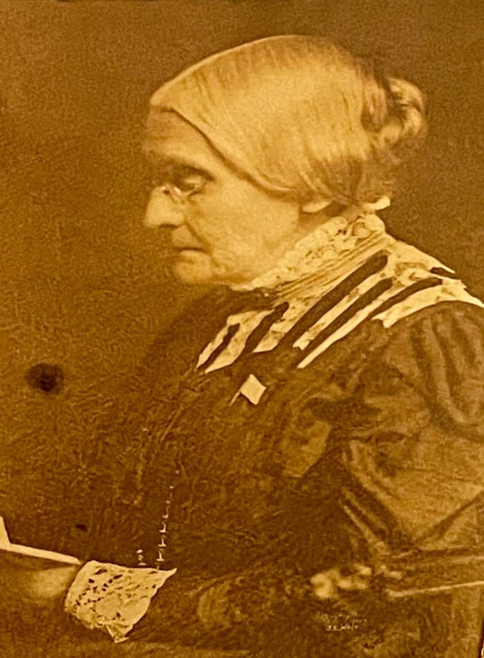J. E. Hale's rare photograph of Susan B. Anthony, taken at Lochland in 1905. This is one of the last photographs taken of her and only four known to exist, with one at the U.S. Library of Congress, and two in this auction. Estimate: $5,000.