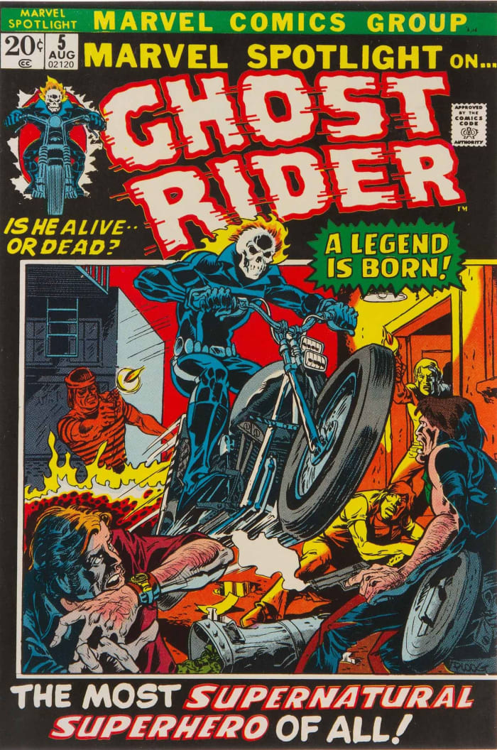 Marvel Spotlight #5, the debut of Ghost Rider, CGC-graded 9.8, sold for $264,000.