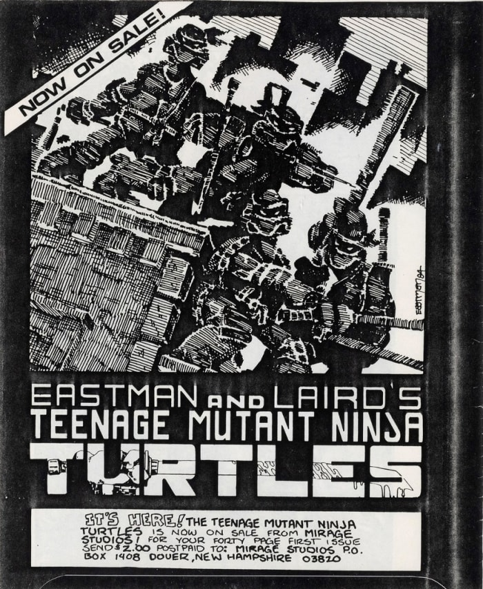 The back cover ad of Gobbledygook #1 of the Teenage Mutant Ninja Turtles' debut issue.