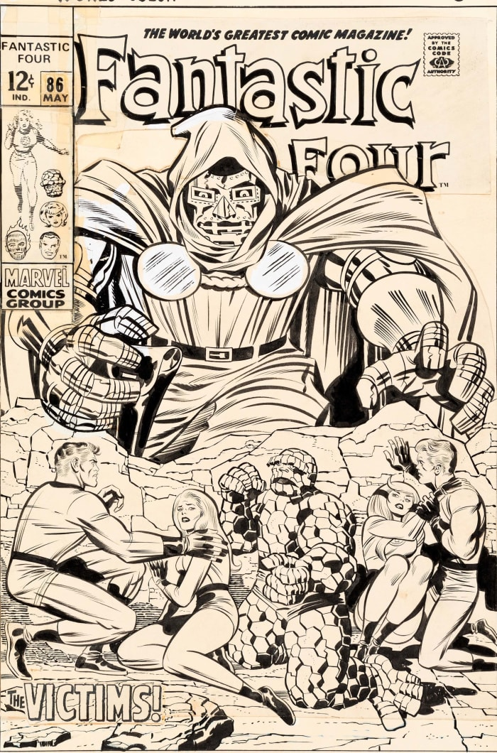 Original cover art for Fantastic Four #86 by Jack Kirby and Joe Sinnott brought in a record $480,000.