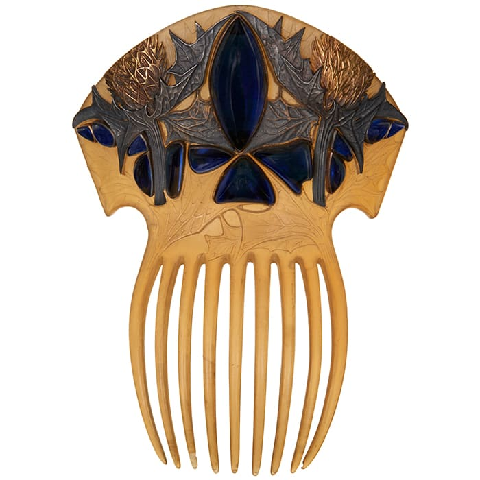 """Sea holly hair comb, circa 1900, made of horn, silver, gold and glass, 3-3/4"""" w x 5-1/8"""" l; $205,500."""
