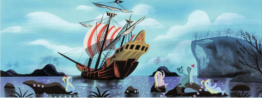 Mary Blair's Peter Pan Mermaids and Jolly Roger Pirate Ship concept painting, 1953, has an estimate of $15,000+.