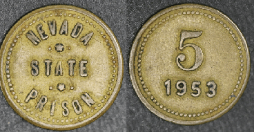 """This 1953 Carson City Nevada State Prison """"5"""" brass token, 18mm, sold on eBay in July for $39.96. The seller sold another 1953 token in June for $37.99."""