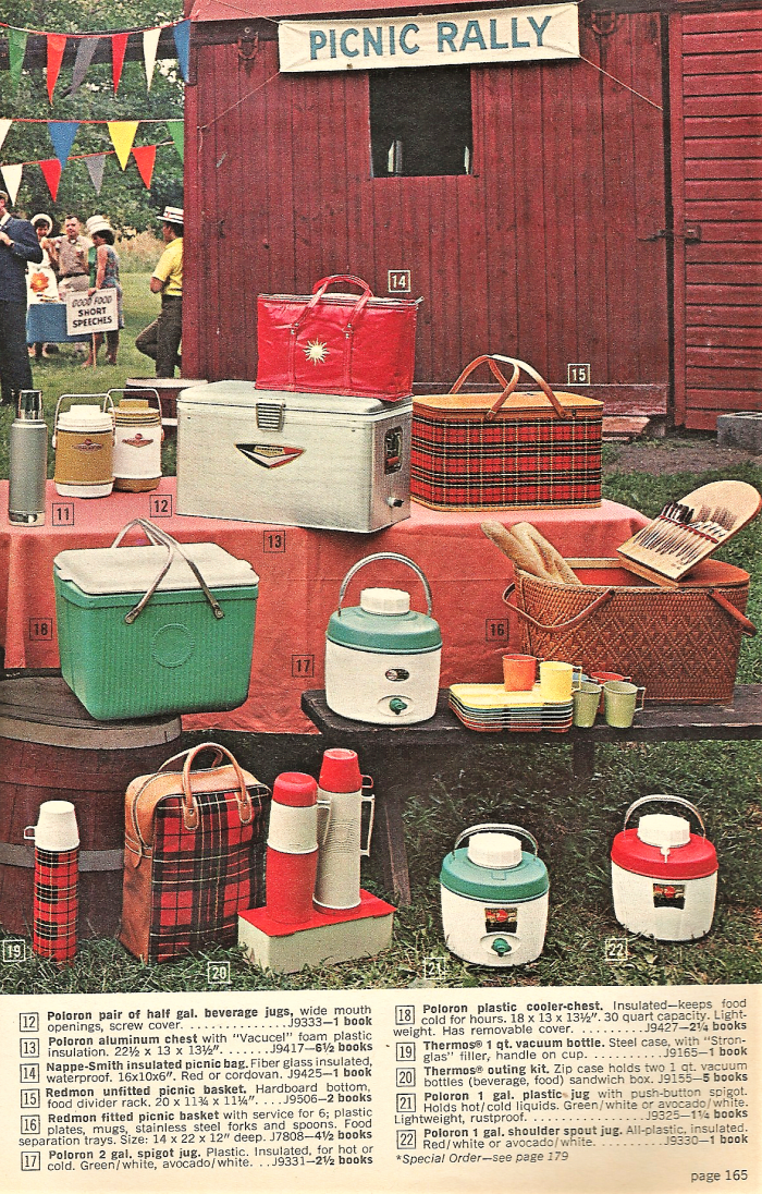 An array of picnic items was available in a catalog from the 1960s.