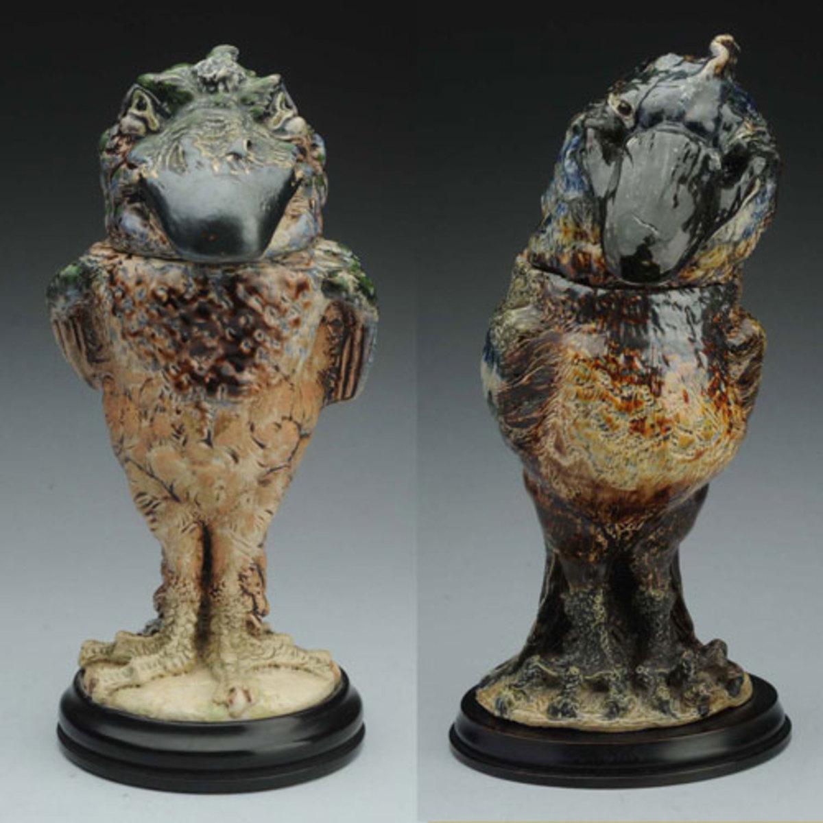 stoneware bird-figure jar