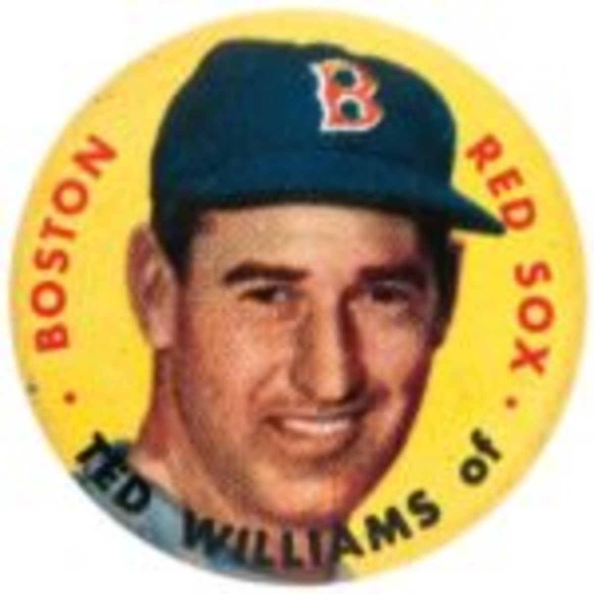 """Pinback, Ted Williams, one of the rarest buttons in the set of 60 different, 1-1/8"""", $115 Hake's Auctions, www.hakes.com"""
