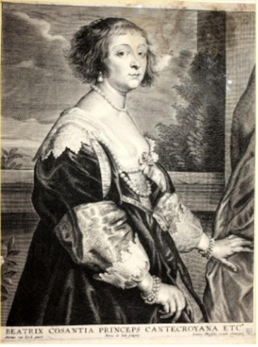 Mid-17th century engraving of Beatrix Cosantia, Princess of Cantecroyana, by Joannes Meyssens (Anthony van Dyck) in Antwerp with a collector's stamp of Heinrich Friedrich de la Motte-Fouquet. Aside from water damage to the upper right-hand corner, insects have eaten away the paper in that section. Interestingly, the ink from the engraving remains intact much like a spider's web. The damage significantly devalues this engraving from $400 to $20
