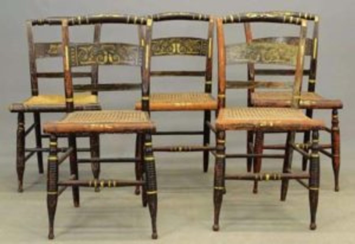 Lot of four 19th century matching Hitchcock chairs, along with similar chair sold for $125 against a $50-$75 estimate at Copake Auction Inc., Copake, New York. Courtesy of Copake Auction Inc.