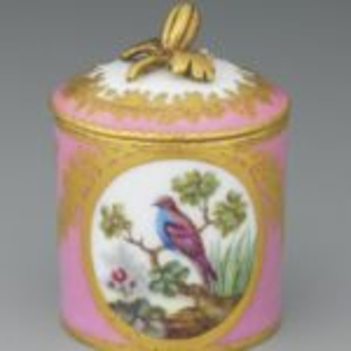 "Small cosmetic jar, Sevres, 3 1/4"" tall. Courtesy of the Hillwood Collection."