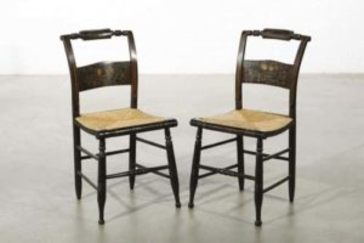 When offered at Andrew Jones Auctions, this pair of Hitchcock ebonized chairs with refreshed/repainted design was expected to sell for $100-$150. Courtesy of Andrew Jones Auctions, Los Angeles, California.