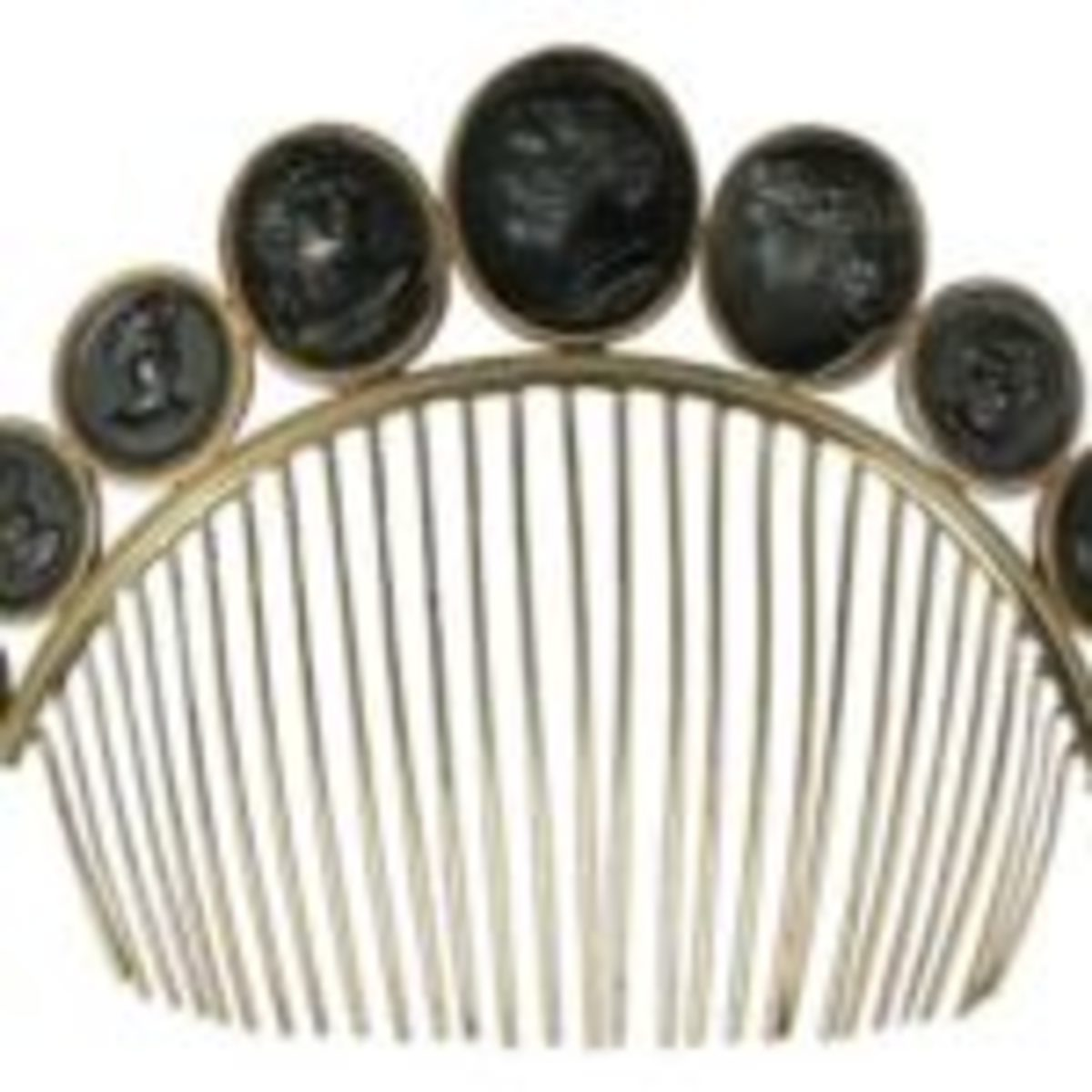 French gold and steel cameo hair comb, circa 1830, featuring carved cameos, sold for $572. Courtesy of Dreweatts Bristol Auction Rooms, Bristol, UK.