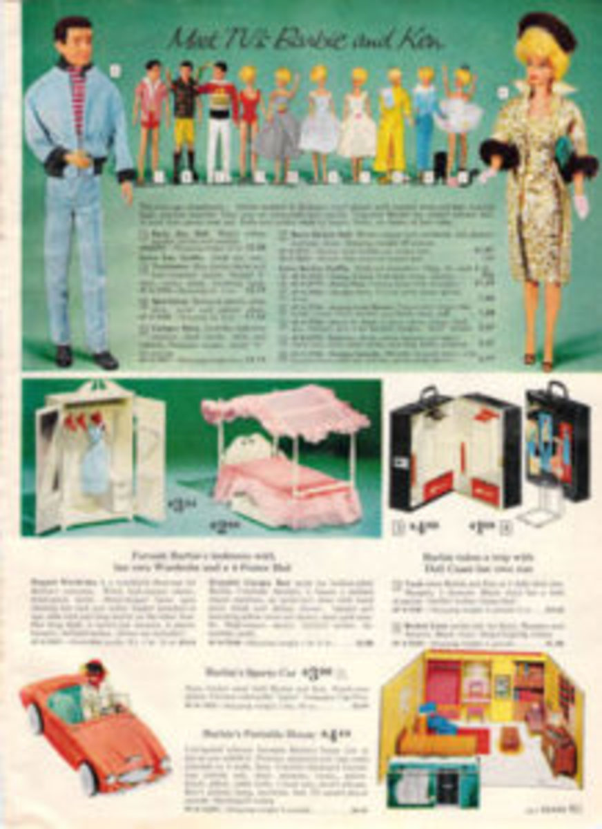 "This 1962 Sears catalog introduces shoppers to ""TV's Barbie and Ken,"" in addition to Barbie's car, home and travel accessories."