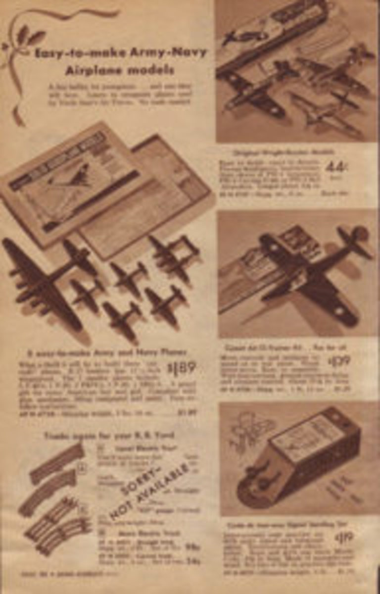 "The 1944 Sears Wish Book features ""Easy-to-make Army-Navy Airplane models."""