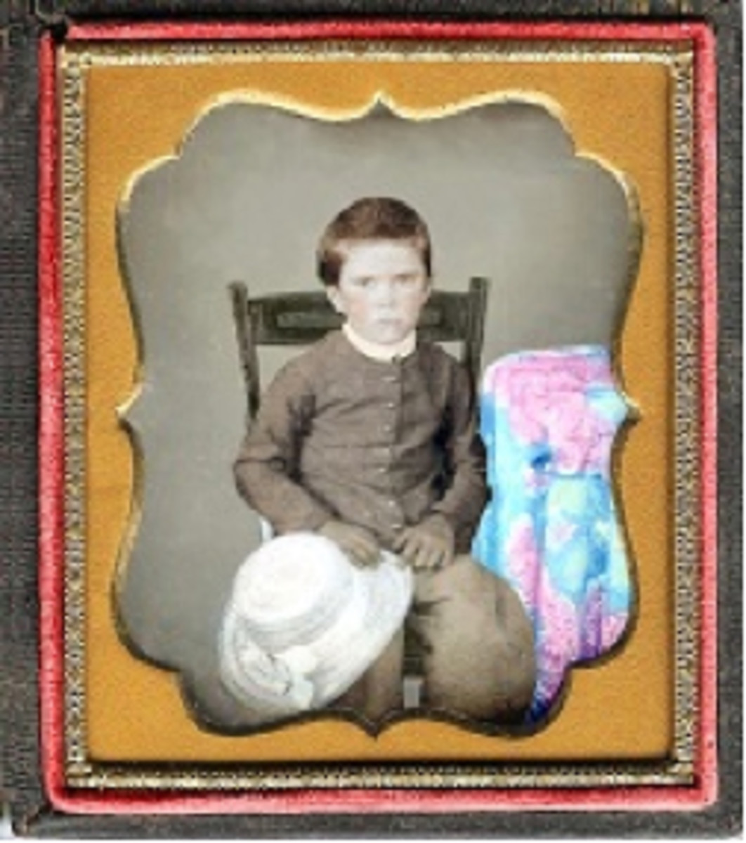 Daguerreotype of boy with color applied