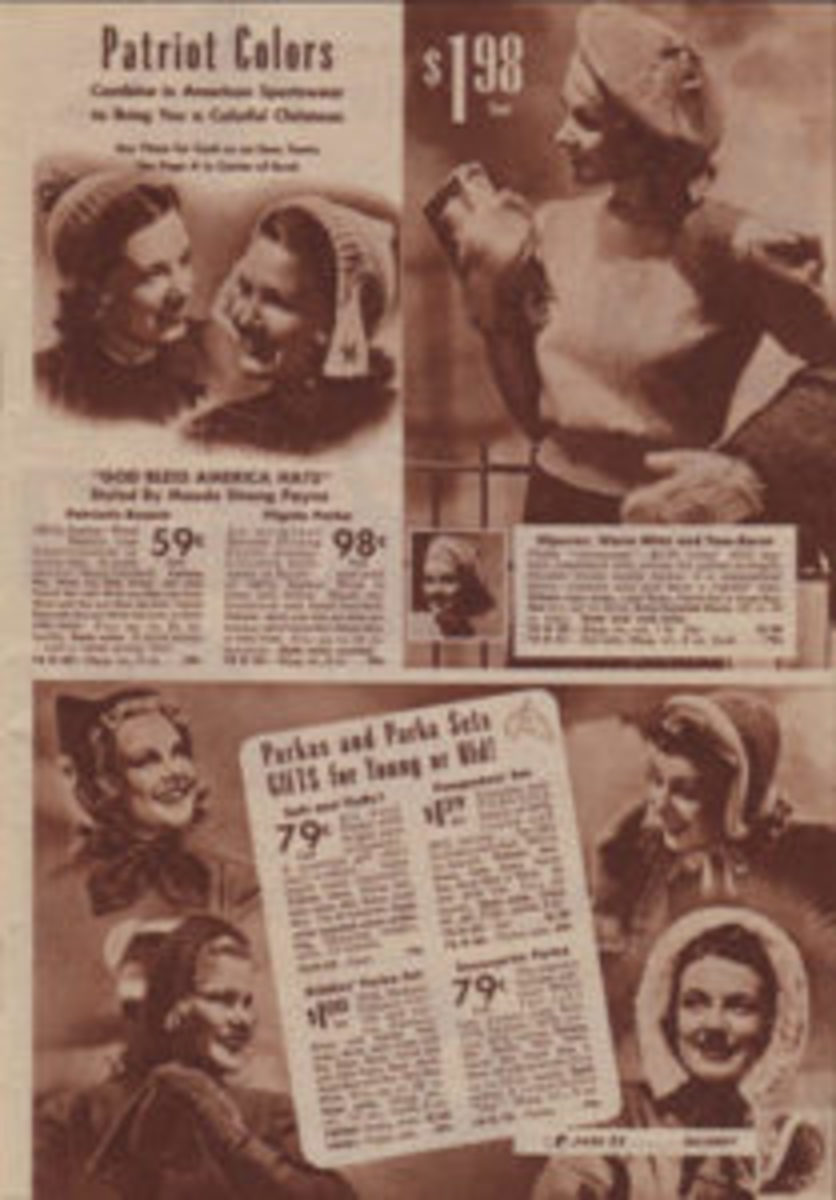 "Home-front fashions included these ""God Bless America Hats."" The beanies were offered by Sears for 59 cents, while the Pilgrim Parka versions cost 98 cents."