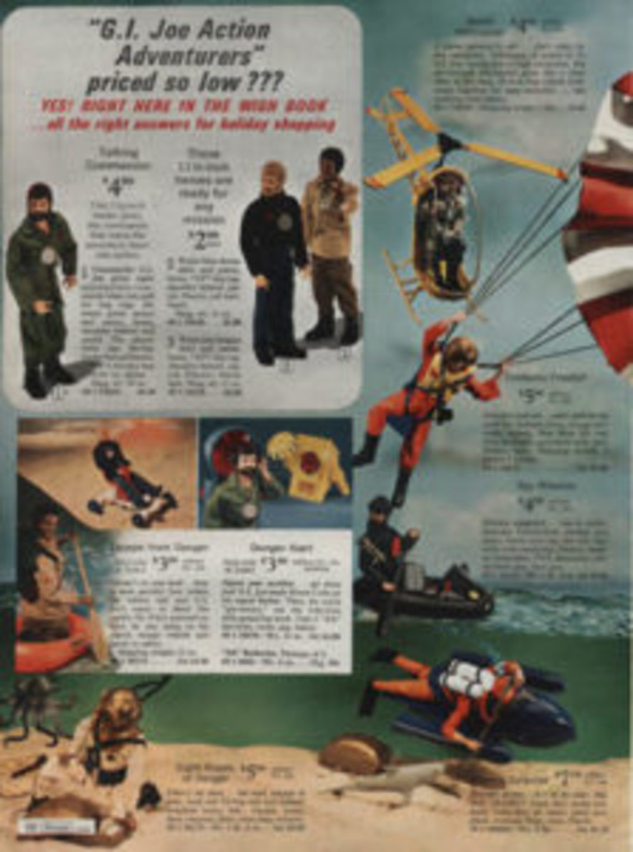 "G.I. Joe Talking Commander is offered for $4.99, while the ""Sold Only at Sears"" Escape from Danger and Danger Alert G.I. Joe accessories retailed for $3.99 apiece in the 1971 Sears Wish Book. Sears also sold the requisite AA batteries in convenient packages of six for just 99 cents."