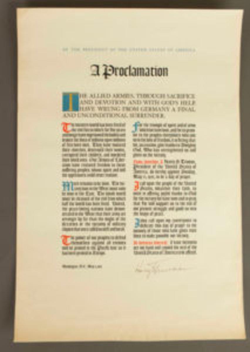 Truman Proclamation document