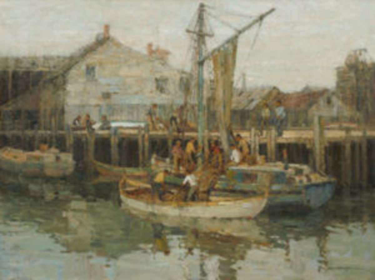"""Fine art auction: Frederick J. Mulhaupt, Am. (1871-1938), """"End of the Day, Gloucester Harbor"""""""