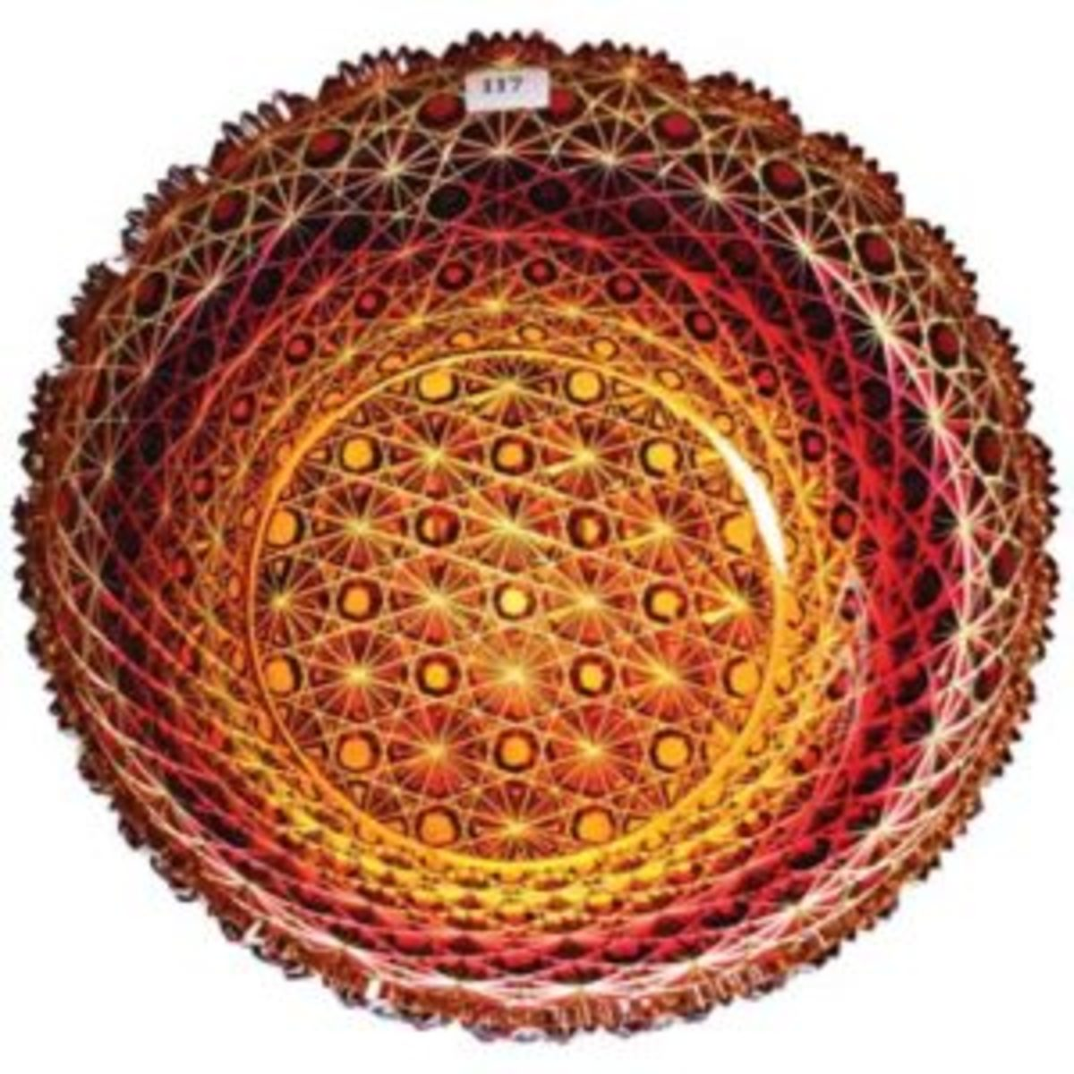 Amberina Russian pattern ABCG bowl
