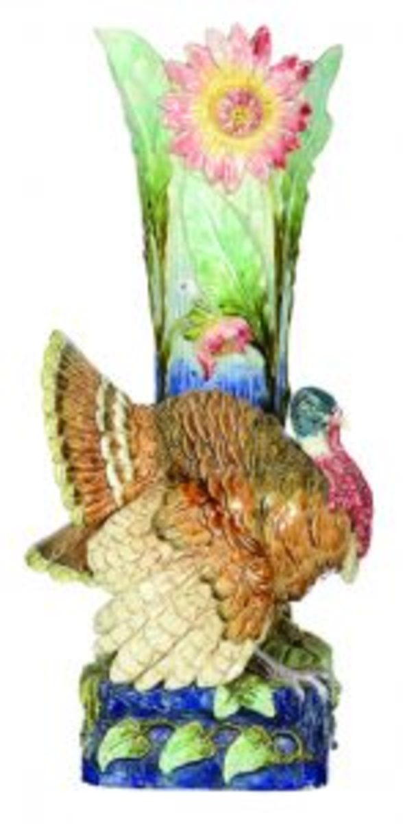 Majolica turkey umbrella stand
