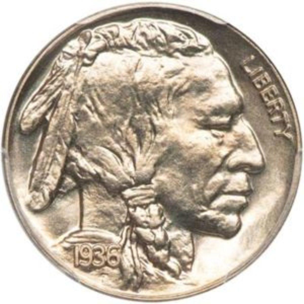 1936 GEM Satin Proof Buffalo Nickel,