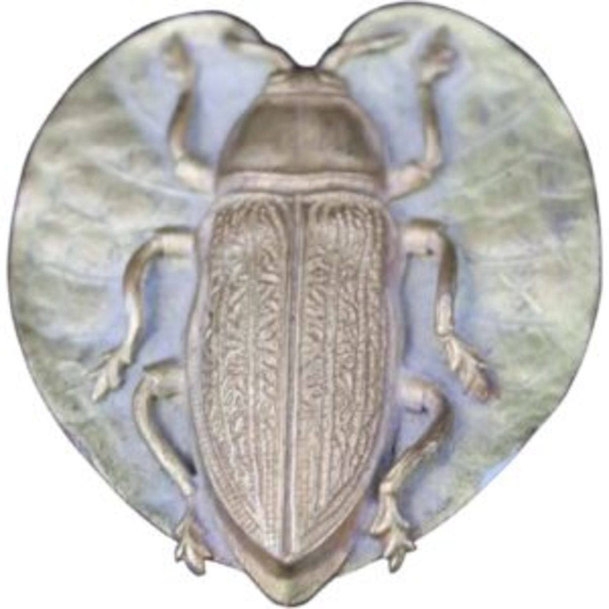 The antique Aesthetic Movement - Art Nouveau era hatpin features a scarab beetle on a heart shaped leaf. The pin is solidly attached to the leaf but there is a slight amount of movement at the joint as well the leaf is tilted to one side. $395. Available from David Lesurf Antiques and Art on Ruby Lane, https://bit.ly/2KCTmPX