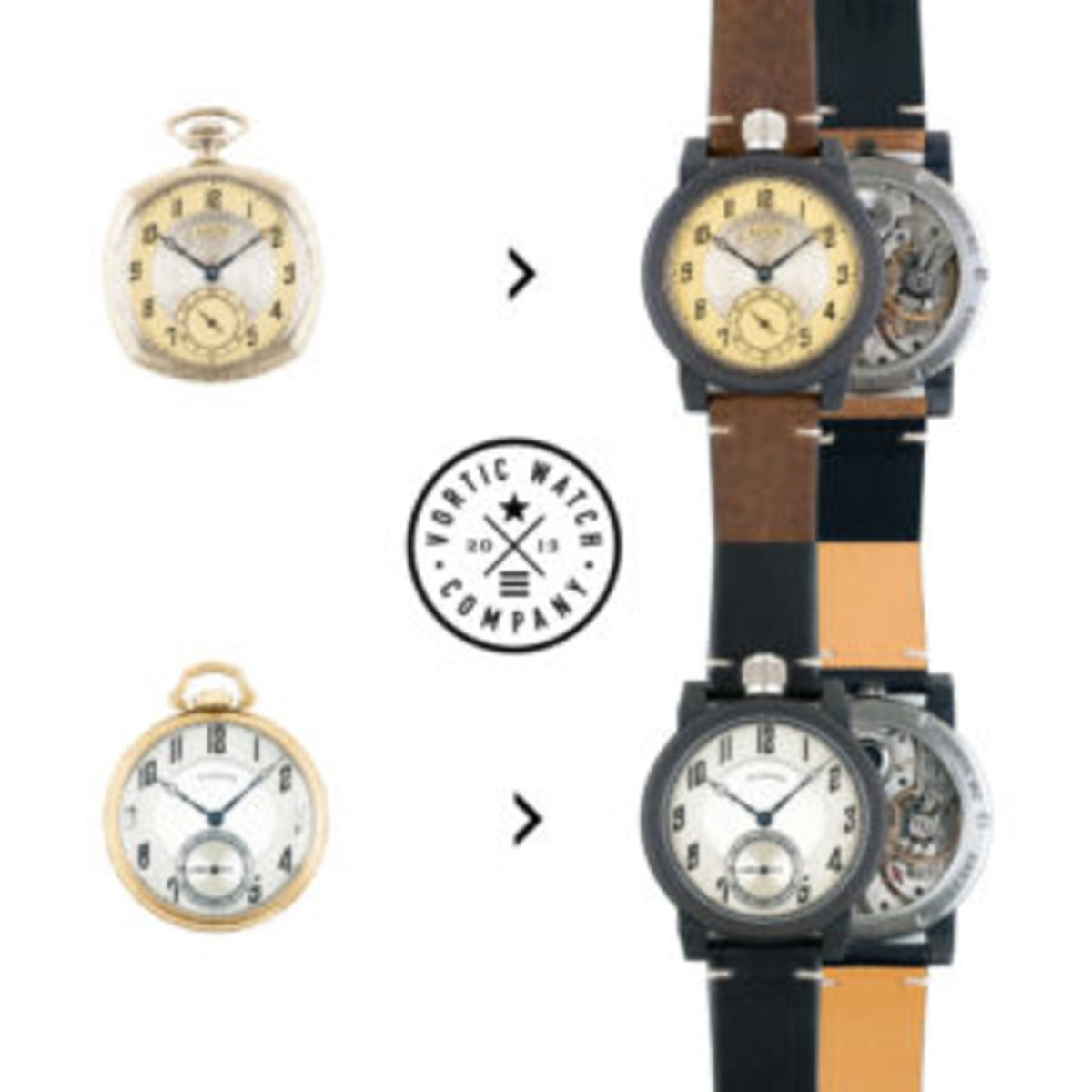 Heirloom pocket watches converted into luxury wrist watches.