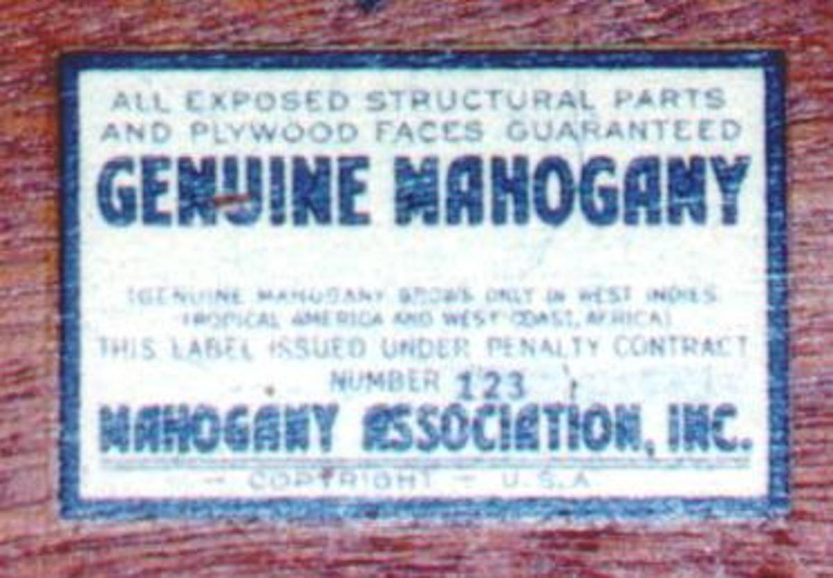 This numbered label from the Mahogany Association was the assurance that all exposed wood was genuine mahogany. Photo courtesy Fred Taylor