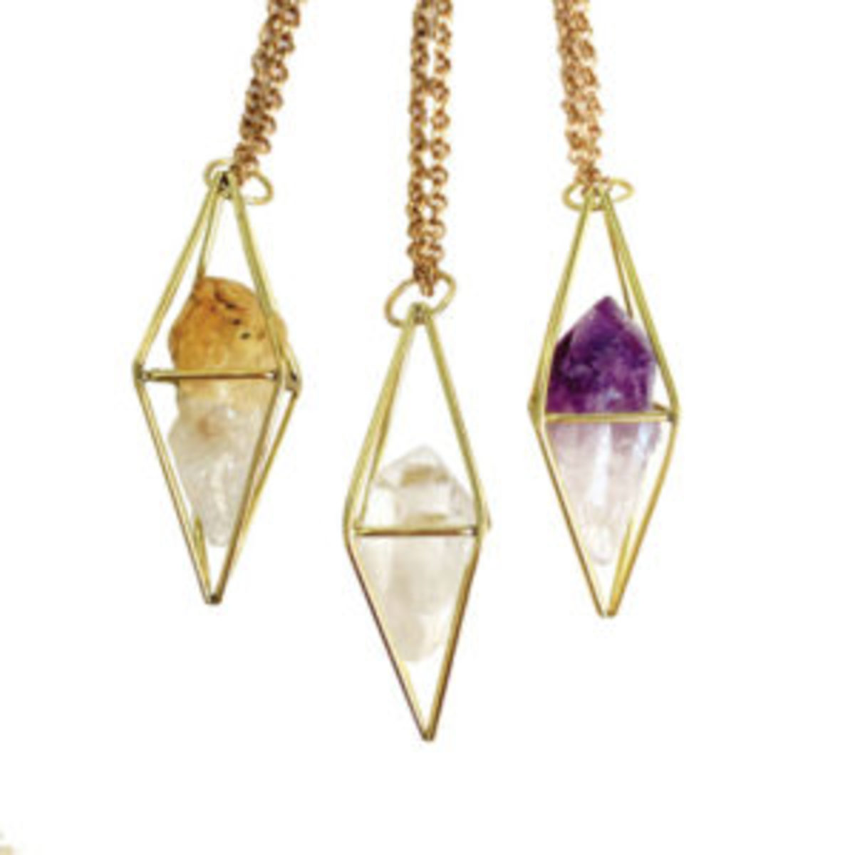 Caged crystal amulet necklaces