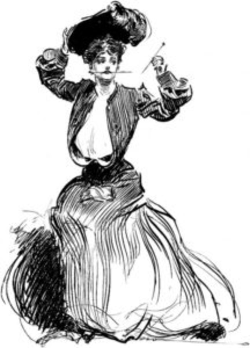 A Gibson Girl applying her hatpins.