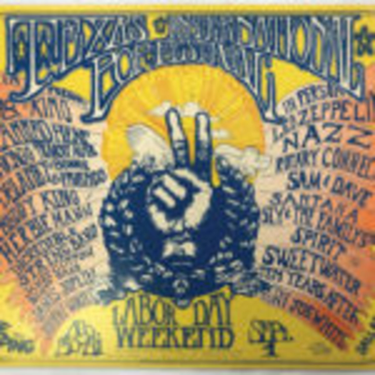 """International Pop Festival"" poster (Texas, 1969), featuring Led Zeppelin, Janis Joplin and many other rock 'n' roll luminaries from the era."