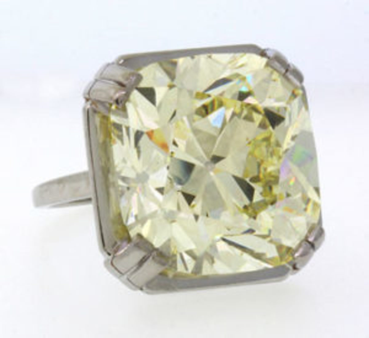 This rare 34.28 carat Old Mine Cut fancy light yellow diamond and platinum ring from the historic Spenger Collection, will be offered at Clars on February 17.