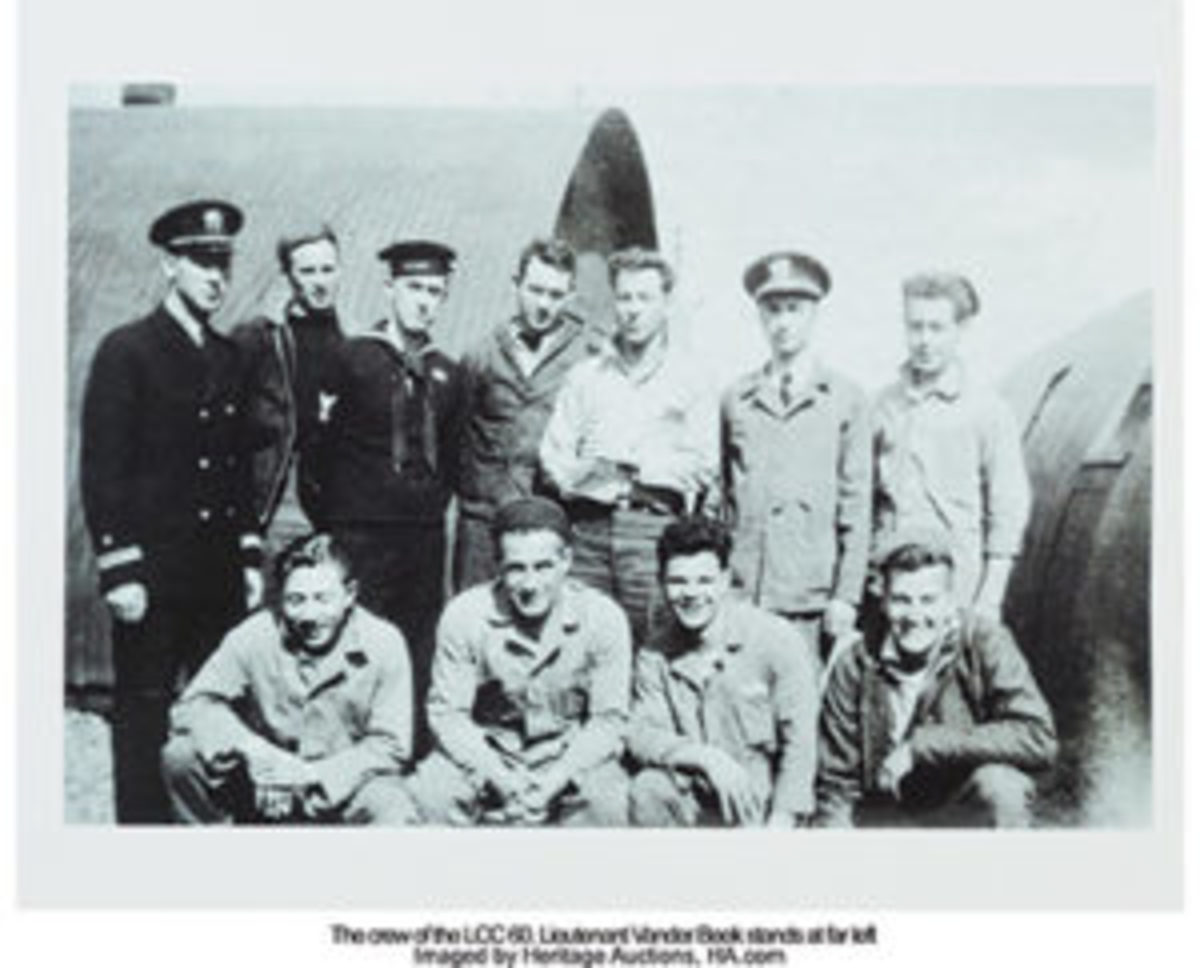 The crew of the LLC 60. Lt. Vander Beek is standing at far left. Courtesy of Heritage Auctions