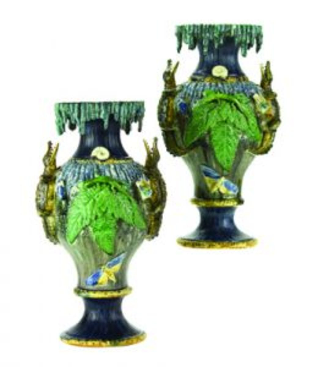 School of Paris Palissy ware fluted vases