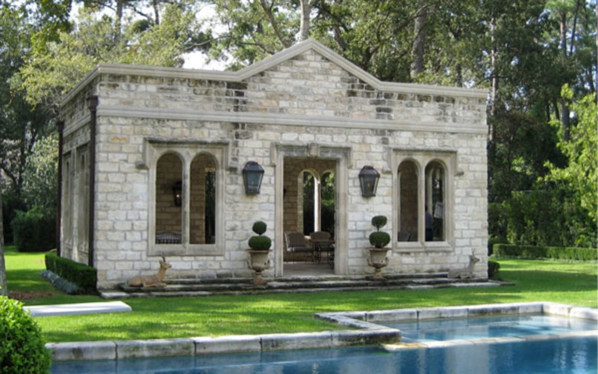 pool house from reclaimed architectural elements