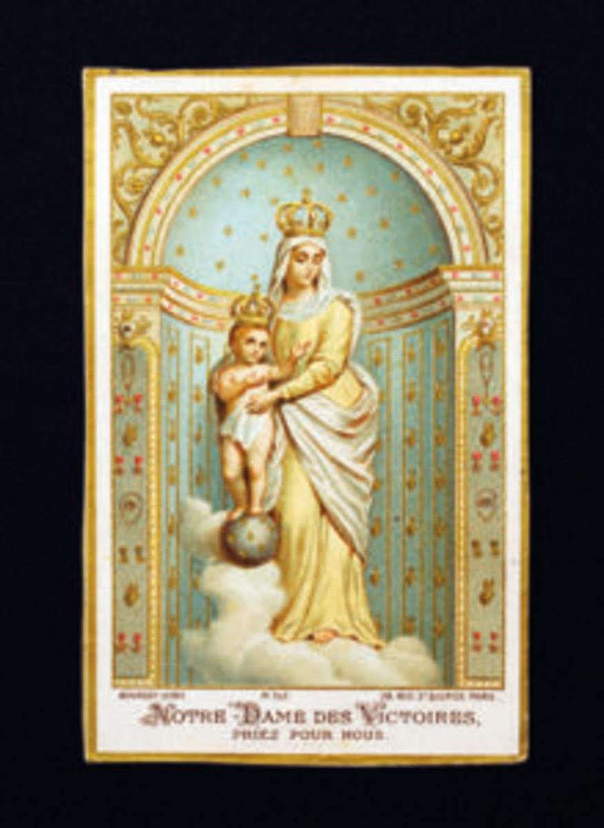 Holy card with Our Lady of Victory