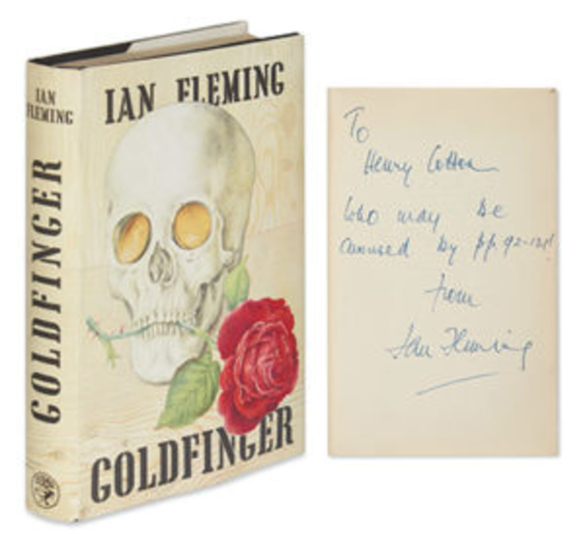 Ian Fleming, Goldfinger, 1959, first edition, inscribed to Sir Henry Cotton, MBE, London, $25,000. Courtesy of Swann Auction Galleries