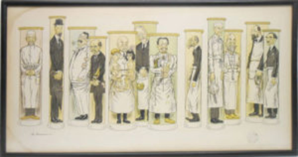 Caricature lithograph of doctors