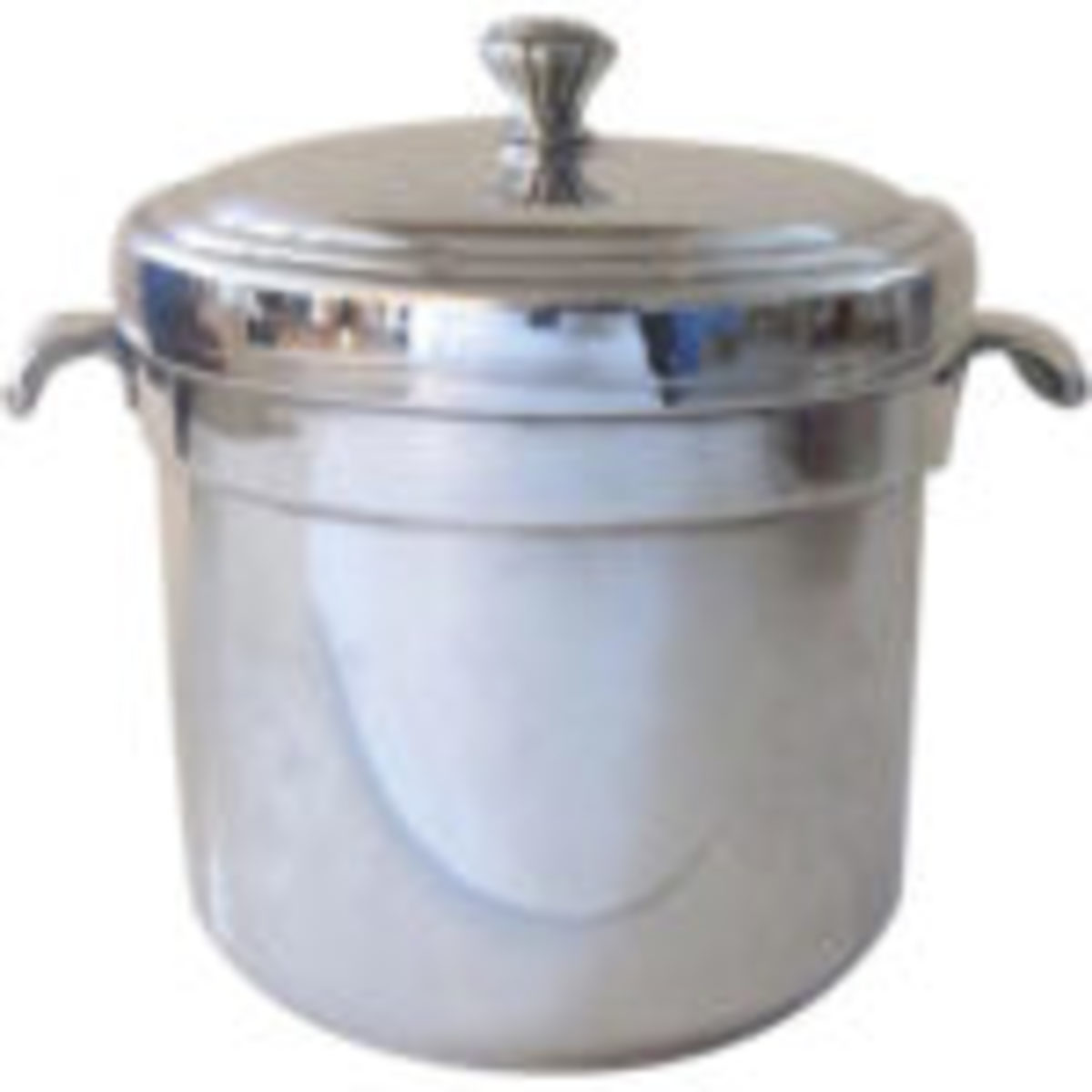 International Silver Co silver plated ice bucket with liner, measures 8-1/2 inches tall, 9-1/4 inches wide including handles, 5-1/2 inches diameter. $24Courtesy of Black Tulip Antiques on Ruby Lane; https://www.rubylane.com/shop/blacktulip