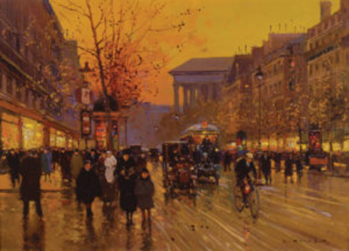 Edouard Leon Cortes, Boulevard de la Madeleine, signed lower right.