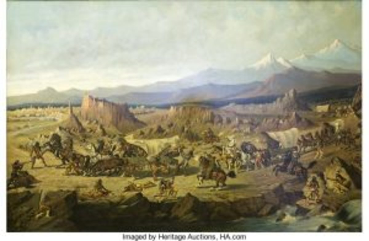 Baldwin Wagon Train Under Attack painting