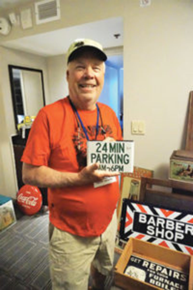 "Obscure items, such as this ""24 min parking"" sign, are a hallmark of the AAAA convention."