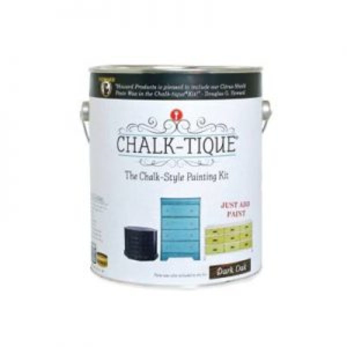 Chalk-tique Kit, $69.95. Each kit includes the materials needed to complete a painting project: Chalk-tique Additive 16 oz. and 1/4-cup measuring scoop; choice of Neutral or Dark Oak Paste Wax, 11 oz.; Concentrated Wood Soap; paint brush; stir stick; 2 polishing cloths; cheese cloth; coarse grit sandpaper sheet; fine grit sandpaper sheet; 1 gallon paint can for mixing.