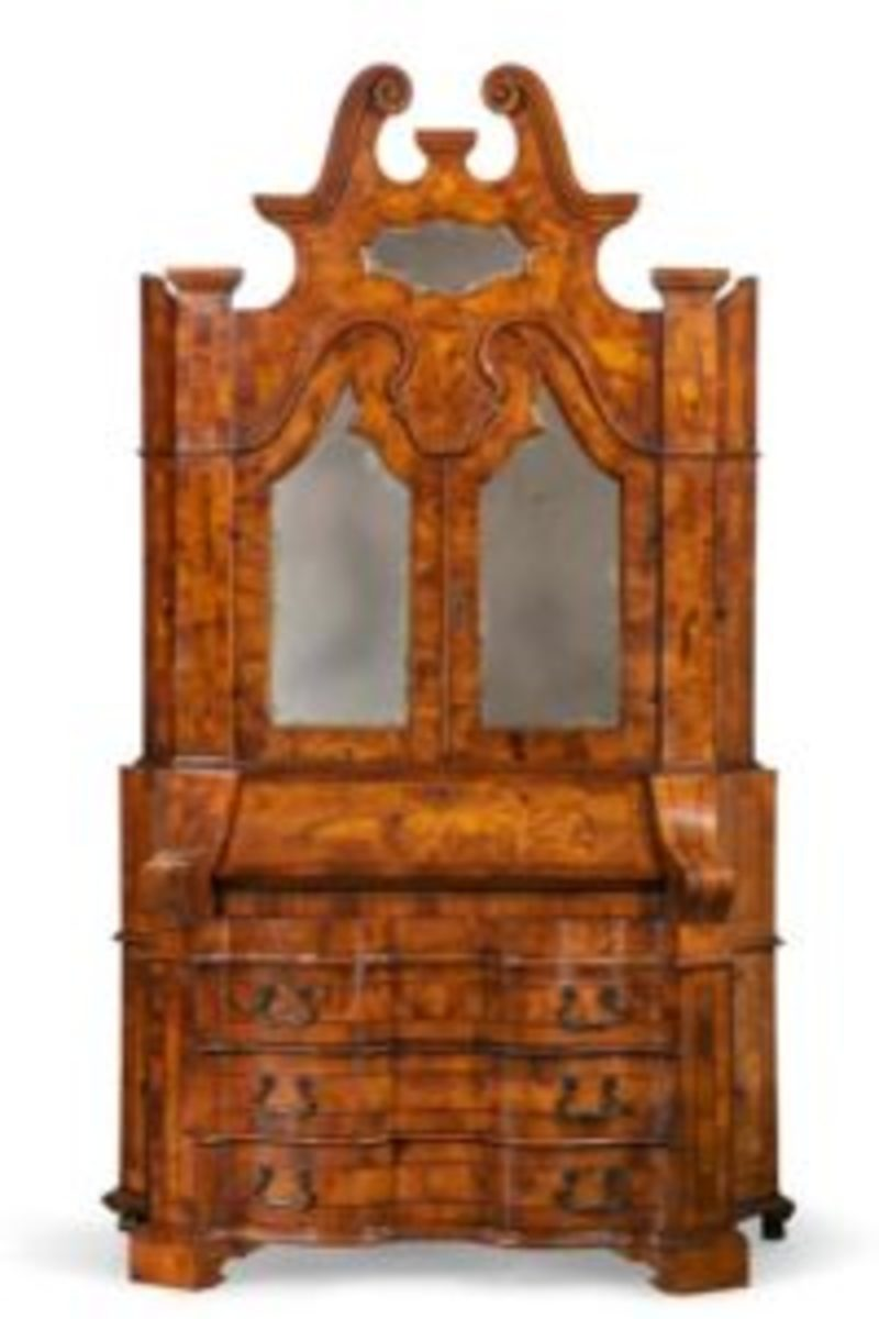 Italian Baroque style inlaid walnut secretary cabinet